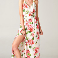 T-STRAP BACKLESS FLORAL MAXI DRESS