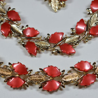 Vintage Red Orange Thermoset Necklace and Bracelet Set Goldtone One Earring Included Lovely Fall Colors Unsigned Vintage Thermoset Jewelry