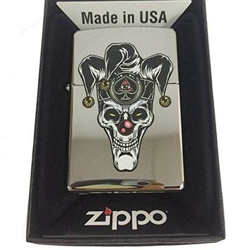 Zippo Custom Lighter - Skull Jester Scary Clown Joker Ace of Spades - High Polish Chrome