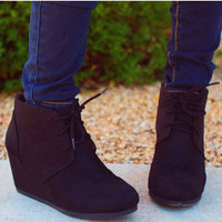 Desert Wedge Booties - Black