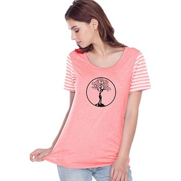 Yoga Clothing For You Black Tree of Life Circle Striped Multi-Contrast Yoga Tee