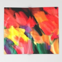 Meadow Flowers At Night Abstract Throw Blanket by Jen Warmuth Art And Design