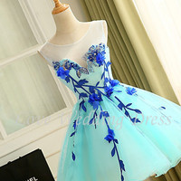 New Organza Scoop Short Prom Party Dress Appliques Beads Cocktail Dresses Ball Gown Colourful Vestido De Festa