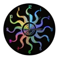 Rainbow Sun Wavy Rays Design Clock from Zazzle.com
