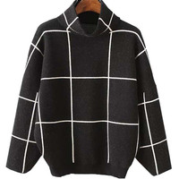Black High Neck Plaid Drop Shoulder Long Sleeve Knit Jumper
