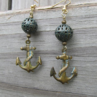 Nautical Steampunk Earrings - Hipster, anchors, patina, brass