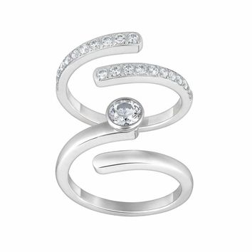 Swarovski Clear Crystal Set of 2 Rings RADIANCE RING Silver Tone