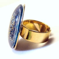 Sparkly Blue Glass Oval Statement Ring Golden Brass Adjustable