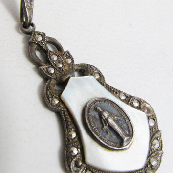Vintage Pendant: Sterling Miraculous Medal with Marcasite, Mother of Pearl