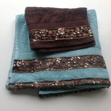 Aqua Blue Decorative Towel, Lace on Towel, House warming Gift, Brown Decorative towel, Bathroom decor, Spa towel set, Gift for New Owner