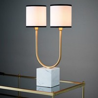 Two-Light Marble Table Lamp