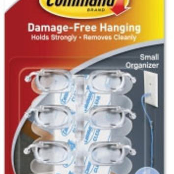 Command(TM) Small Clear Cord Clips w/Clear Strips, 17302CLR-ES