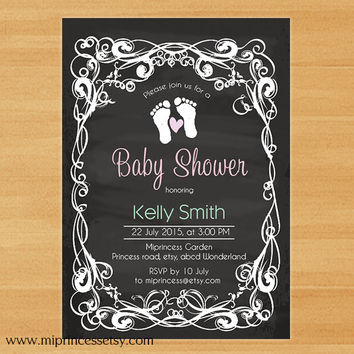 chalkboard baby shower invitation, chalkboard Footprints baby shower Modern Invitation Card Design baby boy baby girl - card 281