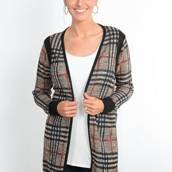 Taupe Plaid Open Cardigan