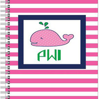 Monogrammed Notebook - Personalized Notebook - Spiral Notebook - Journal - Preppy - Whale - THE PINK WINK