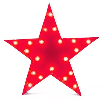 Star Vintage Marquee Lights Sign (Red Finish)