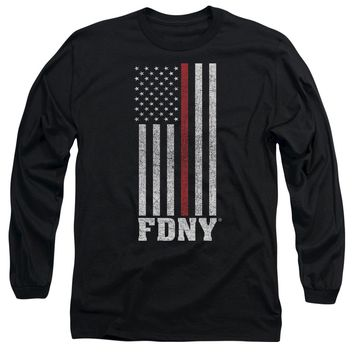 FDNY Long Sleeve T-Shirt Thin Red Line American Flag Black Tee