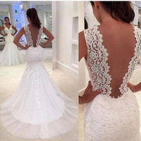 Sexy Lace Mermaid Wedding Dresses 2016 Chapel Train V Neck Appliqued Lace Bridal Gown vestidos boda for Bride abiti sposa