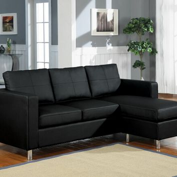 A.M.B. Furniture & Design :: Living room furniture :: Sofas and Sets :: Leather sectionals :: 2 pc black bycast leather like vinyl upholstered reversible chaise sectional sofa with chrome legs