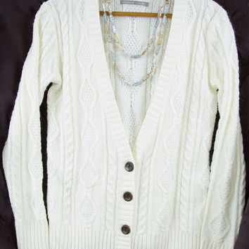 White Cable Knit Sweater - Size M