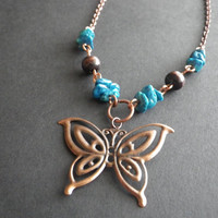 Thanksgiving- Autumn- Fall- Butterfly- Copper- Brown Wood- Turquoise Blue Fossil Beads- Crystal Healing- Wiccan- Gift for Her- CassieVision