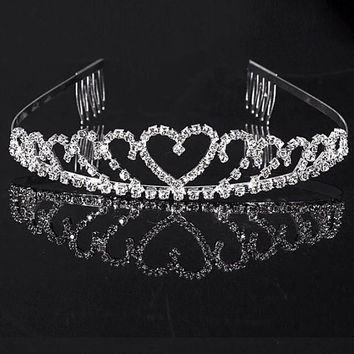 Beautiful tiara, sparkle, rhinestones, flower girl tiara, wedding tiara, heart tiara, party tiara, birthday tiara, tiara