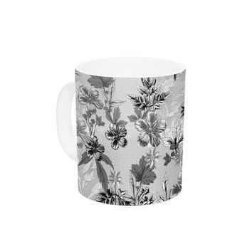 "Victoria Krupp ""Engraving Flowers"" Gray Floral Ceramic Coffee Mug"