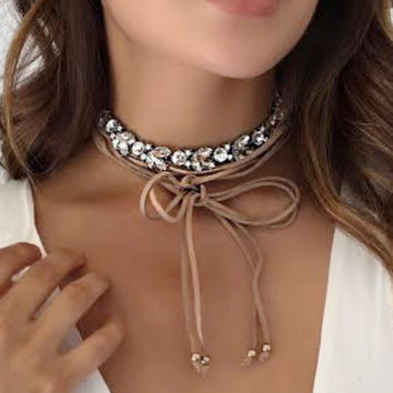 Tan Strappy Bedazzled Choker