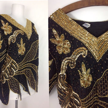 80s Sequins Blouse Glam Disco Party Top Oversized Beaded Evening Top Slouchy Gold Black Silk Top XS S M extra small, small medium