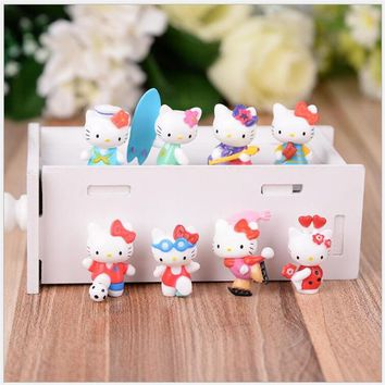 8pcs/lot 3cm Lovely Hello Kitty Cat Miniature Figurines Toys Model Kids Toys PVC Japanese Anime Children Action Figure Toys