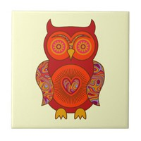Red Psychedelic Owl Ceramic Tile