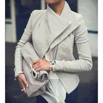 FASHION PURE COLOR LAPEL COAT
