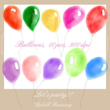 Watercolor balloons, clipart balloons in different shapes and colors, 10xPNG + 10XJPG, 300 dpi, Instant download