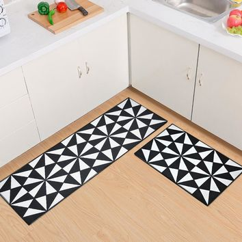 Autumn Fall welcome door mat doormat RAYUAN Flannel Black and White Geometric Kitchen Floor Mats  Long Carpets Anti-slip  Rug Multi Size AT_76_7