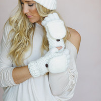 Convertible Gloves, Mittens, IVORY, Knitted Fingerless Flip Down Mittens, Button Closure Fashion Accessories for Women