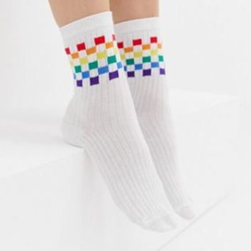 ASOS DESIGN rainbow checkerboard ankle socks at asos.com