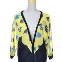 Anna-Kaci Womens Yellow Black Cat Kitty Kitten Button Up 3/4 Sleeve Cardigan