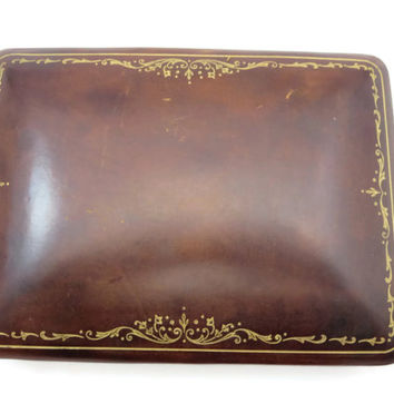 Italian Leather Box - Gold Tooled, Playing Card Holder, Italy