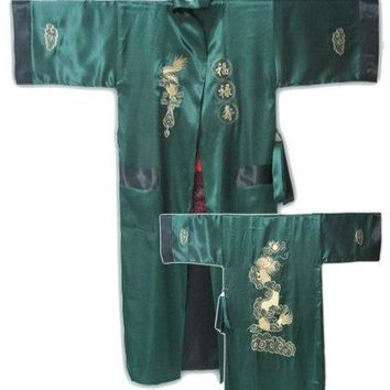 New Green-black Chinese Style Men's Double-Face Reversible Kimono Robe/Gown Embroidery Dragon Sleepwear