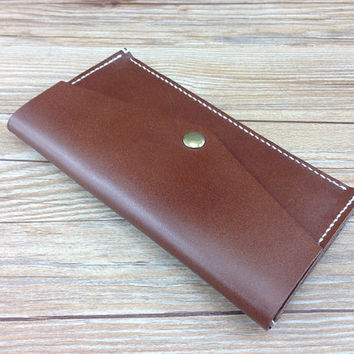 leather snap clutch, brown purse, oversized mens womens fold over clutch, vegan tanned leather, gifts, minimalist wallet, clutch purse