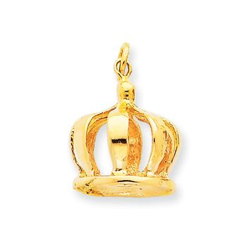 14k Yellow Gold 3D Crown Charm or Pendant, 14mm (9/16 inch)