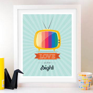 TV poster Retro Print, Mid Century Modern Art, Love at first sight, Retro Poster, Quote poster, Inspirational wall decor, Home Decor, Love
