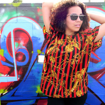 The CLUELESS Blouse, Vintage 90s Red and Black Striped Graphic Art Shirt w Gold Chain Design, Old School Hip Hop, XL XXL Plus Sized