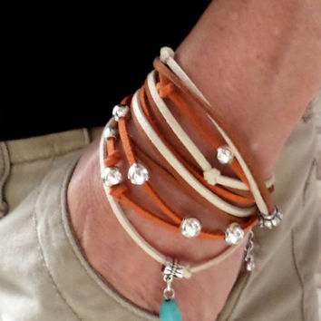 Boho Triple layer Silver bead turquoise brown and ivory suede leather necklace, bead suede leather bracelet, beaded leather belt, gift
