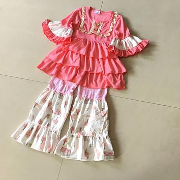 Summer and Fall 100%cotton Classics style ruffles 3/4 sleeves style Baby Girls Dress Apparel Accessory kids's birthday present