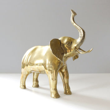 Large Vintage Brass Elephant Statue Mid Century Home Decor