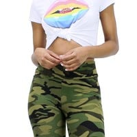 Loose Fit Round Neck Rainbow Lips Short Sleeve Knotted Front Top