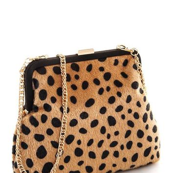 LEOPARD ACCENT CLUTCH PURSE
