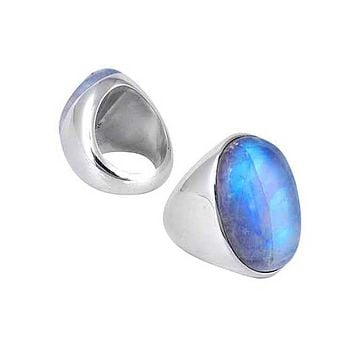 "SR-5059-RM-8"" Sterling Silver Ring With Rainbow Moonstone"