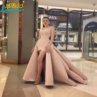 High Quality Unique High Low V neck Prom Dresses 2016 Front Short Long Back Formal Gown Sleeveless Elegant Party Evening Dress